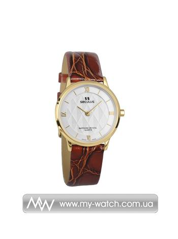 Часы 1610.1.106 white, pvd, brown leather